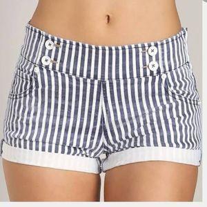 Free People Mariner Striped Denim Shorts